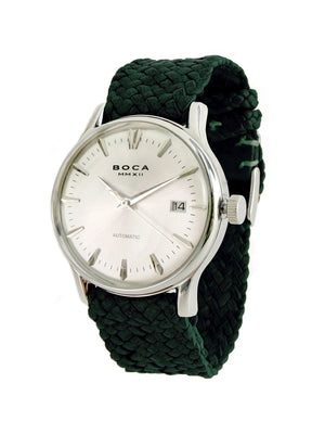 Riviera Silver Automatic - Forest Green Wristband - BOCA MMXII - Official website
