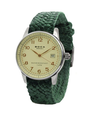 Traveler Beige -  Forest Green Wristband - BOCA MMXII - Official website