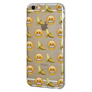 Ultra Thin Protective Cover Soft Gel Shockproof TPU Skin Case Grin With Bananas for iPhone 6 - Clear