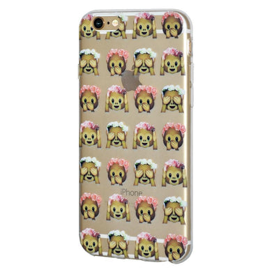 Protective Cover Soft Gel TPU Skin Case See Speak Hear No Evil Monkeys for iPhone 6 - Clear