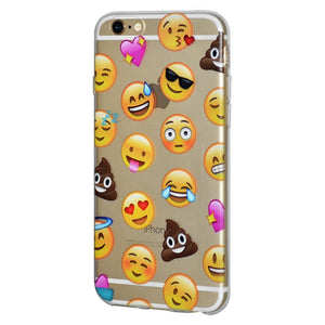 Ultra Thin Protective Soft Gel TPU Skin Case Mixed Emotions With Poop for iPhone 6 Plus - Clear