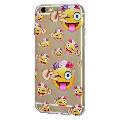 Soft Gel TPU Skin Case Face With Stuck Out Tongue With Winking Eye for iPhone 6 Plus - Clear