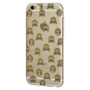 Protective Soft Gel TPU Skin Case See Hear Speak No Evil Monkeys for iPhone 6 Plus - Clear