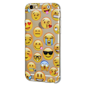 Ultra Thin Protective Soft Gel Shockproof TPU Skin Case Mixed Emotions for iPhone 6 Plus - Clear