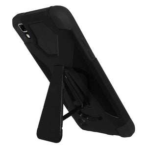 AMZER Dual Layer Hybrid KickStand Case - Black/ Black for LG X Power