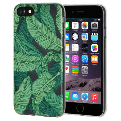 Ultra Thin Protective Cover Soft Gel Shockproof TPU Skin Case Tropical Leaf for iPhone 6 - Clear