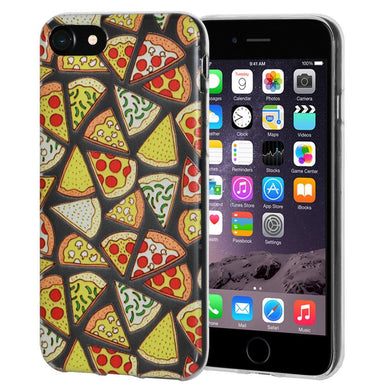 Protective Cover Soft Gel Shockproof TPU Skin Case Modern Pizza Print for iPhone 6 - Clear