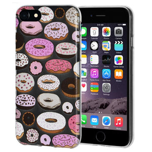 Protective Cover Soft Gel Shockproof TPU Skin Case Modern Donut Print for iPhone 6 - Clear