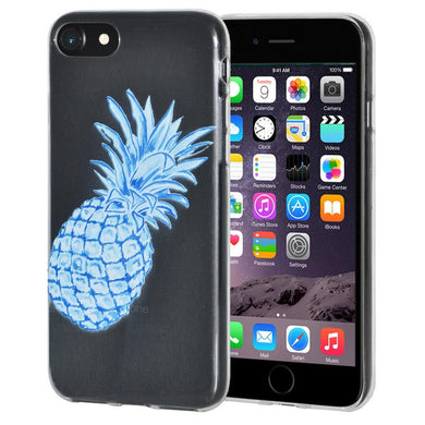 Ultra Thin Protective Cover Soft Gel Shockproof TPU Case Modern Blue Pineapple for iPhone 6 - Clear