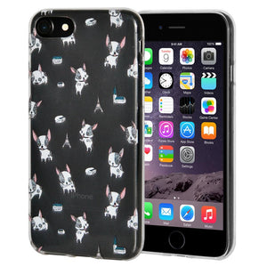 Protective Cover Soft Gel Shockproof TPU Skin Case Modern Puppy Print for iPhone 6 - Clear