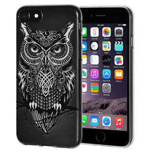 Ultra Thin Protective Cover Soft Gel Shockproof TPU Skin Case Graphic Owl for iPhone 6 Plus - Clear