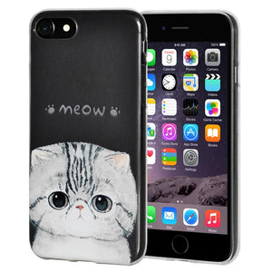 Ultra Thin Protective Cover Soft Gel Shockproof TPU Skin Case Kitten Meow for iPhone 6 Plus - Clear
