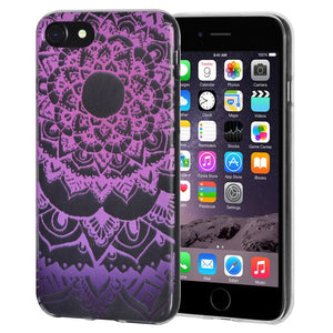Protective Cover Soft Gel Shockproof TPU Skin Case Mandala Purple Zen for iPhone 6 Plus - Clear
