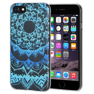 Protective Cover Soft Gel Shockproof TPU Skin Case Mandala Ocean for iPhone 6 Plus - Clear