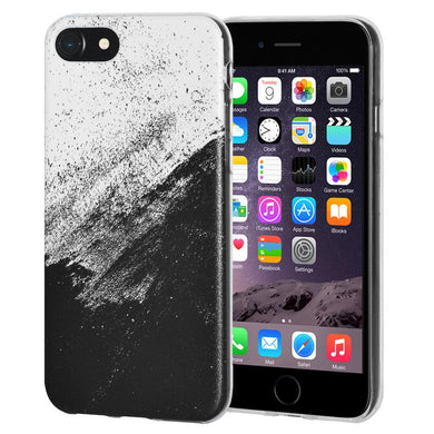 Protective Cover Soft Shockproof TPU Skin Case Abstract Black And White for iPhone 6 Plus - Clear