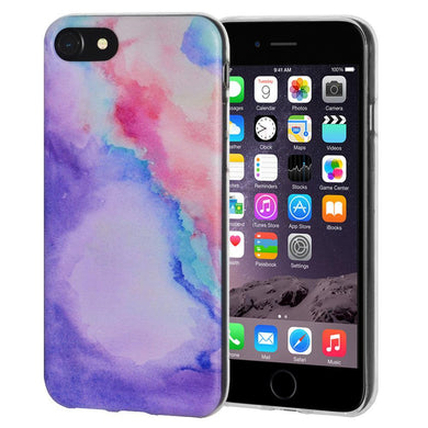 Protective Cover Soft Gel Shockproof TPU Skin Case Abstract Watercolor for iPhone 6 Plus - Clear
