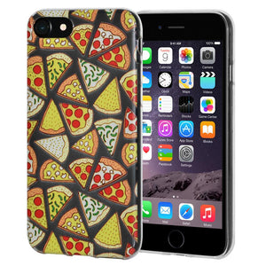 Ultra Thin Protective Cover Soft Gel Shockproof TPU Skin Case Pizza Print for iPhone 6 Plus - Clear