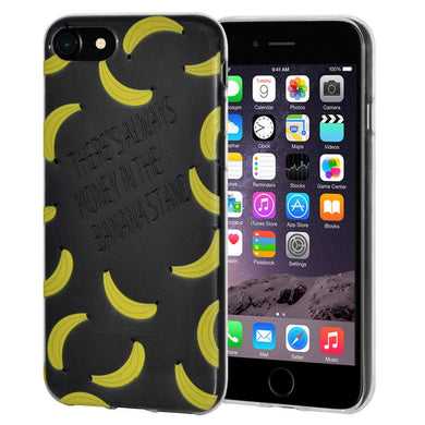 Ultra Thin Protective Cover Soft Gel Shockproof TPU Skin Case Banana Print for iPhone 6 Plus - Clear