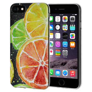 Ultra Thin Protective Cover Soft Gel Shockproof TPU Skin Case Citrus Print for iPhone 6 Plus - Clear