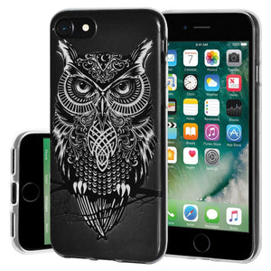Ultra Thin Protective Cover Soft Gel Shockproof TPU Skin Case Graphic Owl for iPhone 7 - Clear