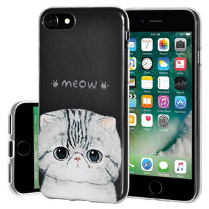 Ultra Thin Protective Cover Soft Gel Shockproof TPU Skin Case Kitten Meow for iPhone 7 - Clear