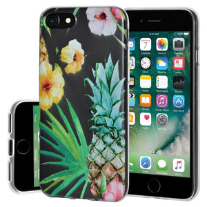 Ultra Thin Protective Cover Soft Gel Shockproof TPU Skin Case Tropical for iPhone 7 - Clear
