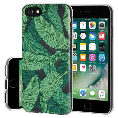 Ultra Thin Protective Cover Soft Gel Shockproof TPU Skin Case Tropical Leaf for iPhone 7 - Clear