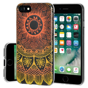 Ultra Thin Protective Cover Soft Gel Shockproof TPU Skin Case Mandala Sunset for iPhone 7 - Clear