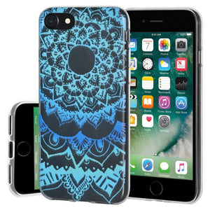 Ultra Thin Protective Cover Soft Gel Shockproof TPU Skin Case Mandala Ocean for iPhone 7 - Clear
