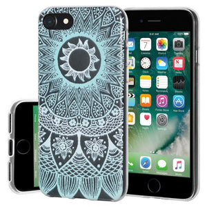 Ultra Thin Protective Cover Soft Gel Shockproof TPU Skin Case Mandala Turquoise for iPhone 7 - Clear