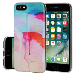 Soft Gel Shockproof TPU Skin Case Abstract Watercolor Drip for iPhone 7 - Clear