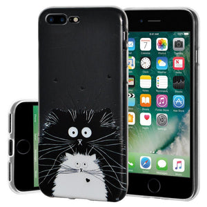 Ultra Thin Protective Cover Soft Gel Shockproof TPU Skin Case Cat for iPhone 7 Plus - Clear