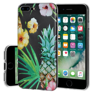 Ultra Thin Protective Cover Soft Gel Shockproof TPU Skin Case Tropical for iPhone 7 Plus - Clear