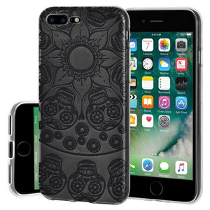 Protective Cover Soft Gel Shockproof TPU Skin Case Mandala Black Tattoo for iPhone 7 Plus - Clear