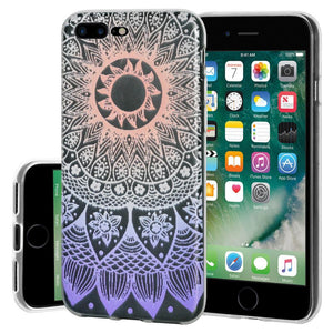 Ultra Thin Protective Cover Soft Shockproof TPU Skin Case Mandala Ombre for iPhone 7 Plus - Clear