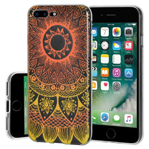 Ultra Thin Protective Cover Soft Shockproof TPU Skin Case Mandala Sunset for iPhone 7 Plus - Clear