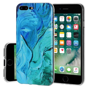 Protective Cover Soft Shockproof TPU Skin Case Abstract Blue Brushstroke for iPhone 7 Plus - Clear