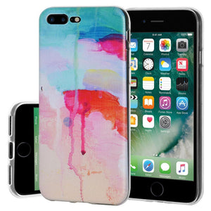 Protective Cover Soft Shockproof TPU Skin Case Abstract Watercolor Drip for iPhone 7 Plus - Clear