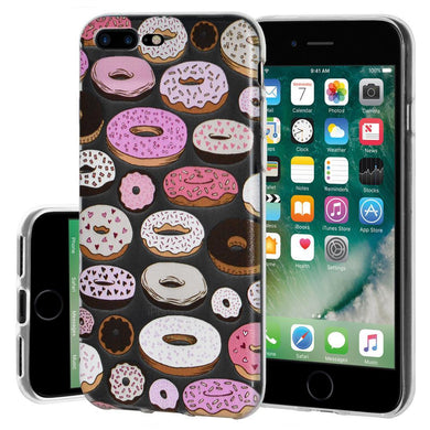 Ultra Thin Protective Cover Soft Gel Shockproof TPU Skin Case Donut Print for iPhone 7 Plus - Clear