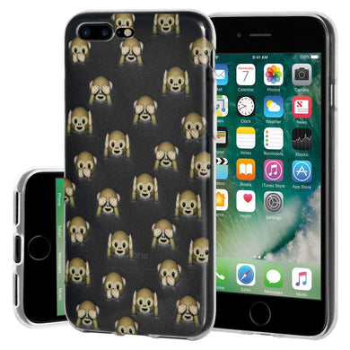Protective Cover Soft Shockproof TPU Case See Hear Speak No Evil Monkeys for iPhone 7 Plus - Clear