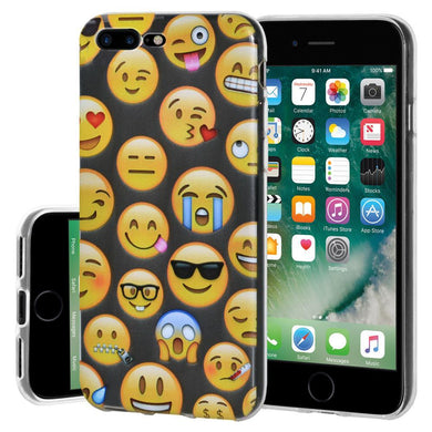 Ultra Thin Protective Cover Soft Shockproof TPU Skin Case Mixed Emotions for iPhone 7 Plus - Clear
