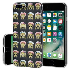 Protective Cover Soft Shockproof TPU Case See Speak Hear No Evil Monkeys for iPhone 7 Plus - Clear