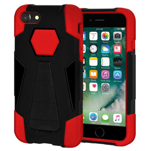 AMZER Dual Layer Shockproof Cover Hybrid KickStand Case for iPhone 7, iPhone SE 2020 - Black/Red