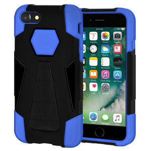 AMZER Dual Layer Hybrid Shockproof Case With KickStand for iPhone 7, iPhone SE 2020 - Black/ Blue