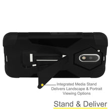 Load image into Gallery viewer, AMZER Dual Layer Hybrid Case with Kickstand - Black/ Black for Motorola Moto G Plus 4th Gen XT1642