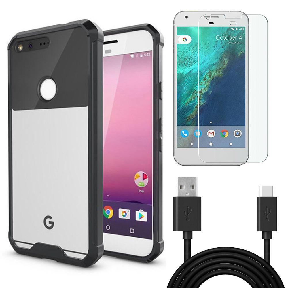 AMZER Combo Pack 1 Tempered Glass, 1 USB Type C Cable, 1 Shockproof Hybrid Case for Google Pixel XL