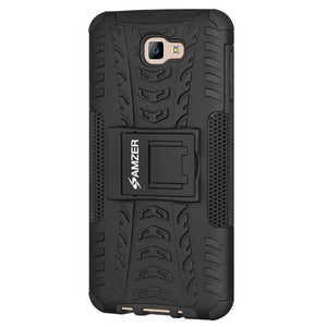 AMZER Shockproof Warrior Hybrid Case for Samsung Galaxy J7 Prime- Black/Black