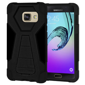 AMZER Dual Layer Hybrid KickStand Case - Black/ Black for Samsung GALAXY A5 2016 SM-A510F