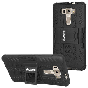 AMZER Shockproof Warrior Hybrid Case for Asus ZenFone 3 ZE520KL - Black/Black
