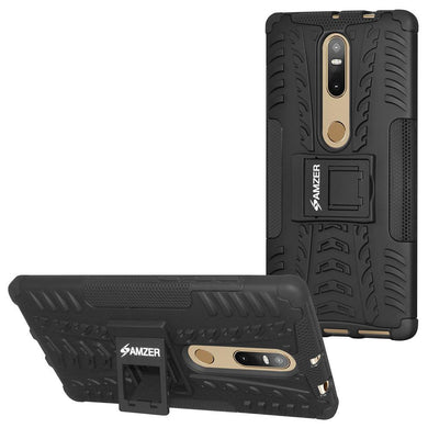 AMZER Shockproof Warrior Hybrid Case for Lenovo Phab 2 Plus - Black/Black